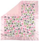 "MyBlankee My Blankee Giraffe Zoo Minky Fuchsia w/ Minky Dot Pink Baby Blanket, 30"" x 35"""