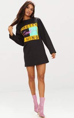 PrettyLittleThing Black Slogan Jumper Dress