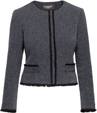 Rumour London Eleanor Navy and Cream Tweed Jacket with Fringing Detail