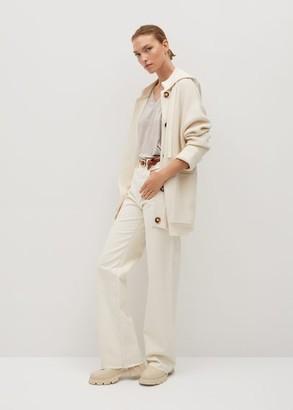 MANGO V-neck T-shirt beige - XS - Women