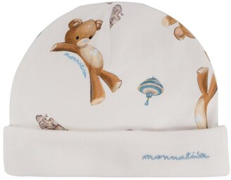 MonnaLisa Teddybear-Print Cotton Hat