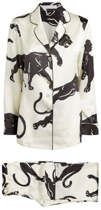 Olivia von Halle Silk Lilia Panther Print Pyjama Set