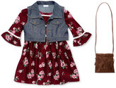 Sweet Heart Rose 3-Pc. Floral Dress, Vest and Purse, Little Girls (4-6X)
