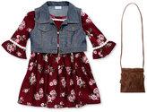 Sweet Heart Rose 3-Pc. Floral Dress, Vest & Purse, Toddler & Little Girls (2T-6X)