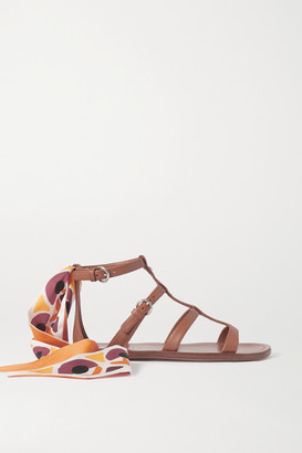 Prada Silk-trimmed Leather Sandals - Tan