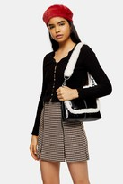Topshop Black Long Sleeve Ribbed Lace Trim Cardigan