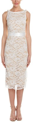 ABS by Allen Schwartz Women's Tall Size Lace Sheath Dress with Satin Contrast