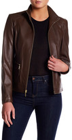 Cole Haan Genuine Lamb Leather Zip Jacket