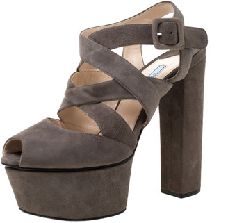 Prada Brown Suede Platform Strappy Sandals Size 37