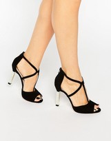 Dune London Melody Cross Strap Suede Heeled Sandals