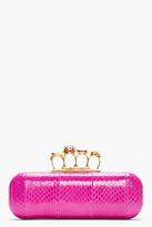 Alexander McQueen Pink Snakeskin Knucklebox Clutch