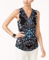 INC International Concepts Petite Printed Zipper-Trim Tank, Only at Macy's