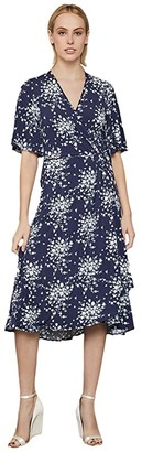BCBGMAXAZRIA Floral Cluster Print Dress (Pacific Blue/Floral Cluster) Women's Clothing
