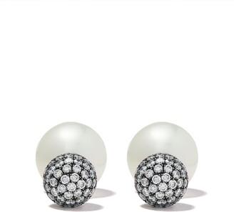 Yoko London 18kt black gold Duet South Sea pearl and diamond earrings