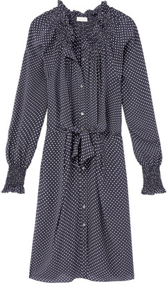Rebecca Taylor Long sleeve dot silk tie dress in navy and off white - UK12 - Blue/Natural
