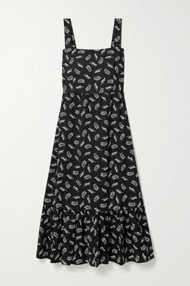 HVN Olympia Tiered Printed Cotton-poplin Midi Dress - Black