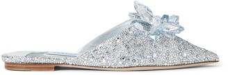 Jimmy Choo ATHEA FLAT Crystal Covered Shimmer Suede Slide On Mules