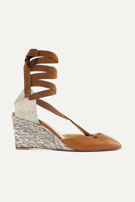 Christian Louboutin Noemia 70 Leather Wedge Espadrilles - Tan
