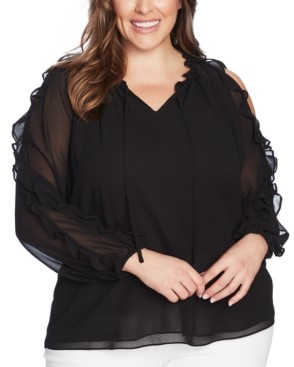 1 STATE 1.state Trendy Plus Size Ruffled Cold-Shoulder Top