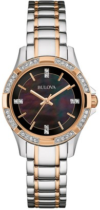 Bulova Women's Swarovski Crystal Black Dial Two-Tone Watch, 30mm