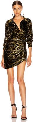 GRLFRND Page Shirt Dress in Black & Gold | FWRD