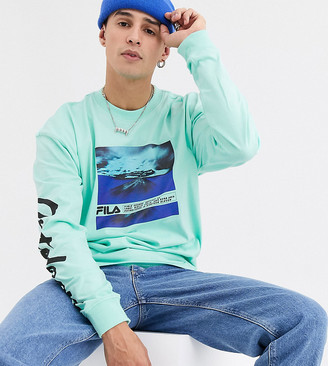 Fila Trogen printed long sleeve in green exclusive at ASOS
