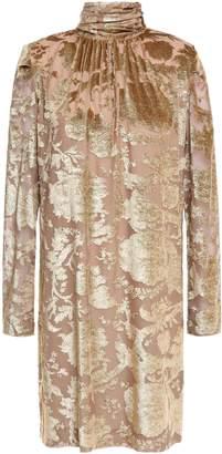 Masscob Gathered Metallic Devore-velvet Mini Dress