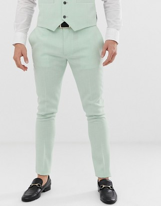 ASOS DESIGN wedding super skinny suit pant in green cross hatch