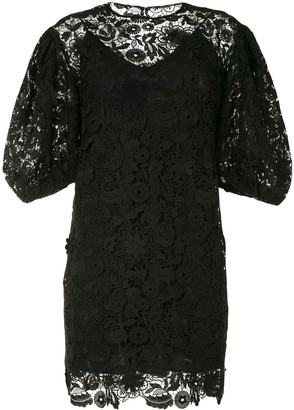 Carolina Herrera Puff-Sleeve Lace Dress