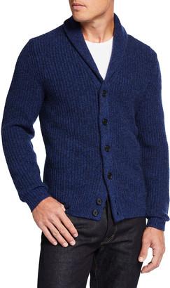 Neiman Marcus Men's Chunky Melange Cashmere Shawl-Collar Cardigan Sweater
