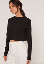 Missguided Crepe High Neck Jean Grazer Top Black
