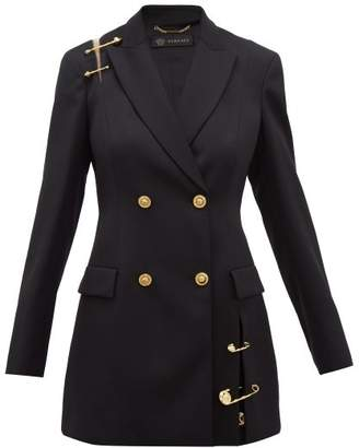 Versace Safety Pin-embellished Wool Blazer - Womens - Black