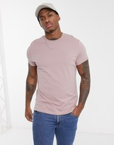 Asos Design ASOS DESIGN t-shirt with crew neck and roll sleeves in pink