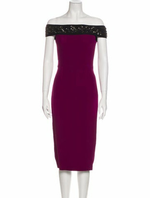 Roland Mouret Off-The-Shoulder Midi Length Dress Purple