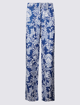 M&S Collection Pure Linen Printed Wide Leg Trousers