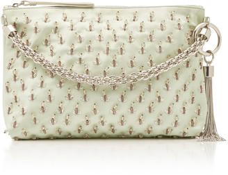 Jimmy Choo Callie Embroidered Satin Top Handle Bag