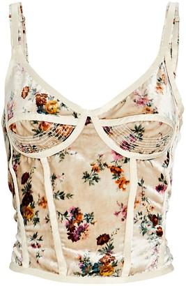 R 13 Corset Floral Velvet Camisole