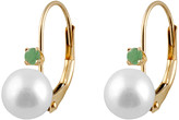 Splendid Pearls 14K 0.10 Ct. Tw. Emerald & 7-7.5Mm Freshwater Pearl Drop Earrings