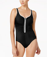 Reebok Pipe-Trim Zip-Front One-Piece Swimsuit