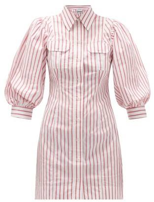 Ganni Balloon-sleeve Striped Cotton-oplin Mini Dress - Red White
