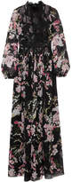 Giambattista Valli Lace-trimmed Floral-print Silk-chiffon Maxi Dress - Black
