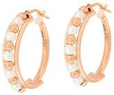 """Honora Cultured Pearl 3.0mm Round 1"""" Bronze Hoop Earrings"""