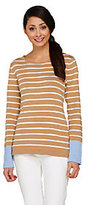 Denim & Co. As Is Striped Long Sleeve Sweater with Color-Block