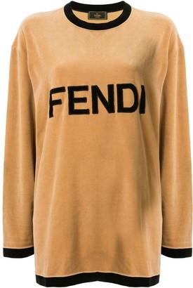 Fendi Pre-Owned velvet effect logo T-shirt