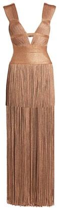 Herve Leger Lurex Fringe Gown