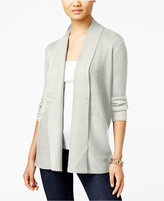JM Collection Petite Open-Front Ribbed Cardigan, Only at Macy's