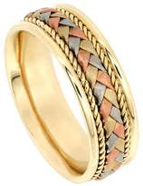 American Set Co. Men's Tri-color 18k White Yellow Rose Gold Braided 7.5mm Comfort Fit Wedding Band Ring size 6