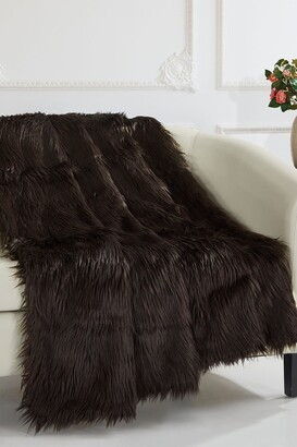 "Chic Home Bedding Krista Shaggy Faux Fur Blanket - 50"" x 60"" - Brown"