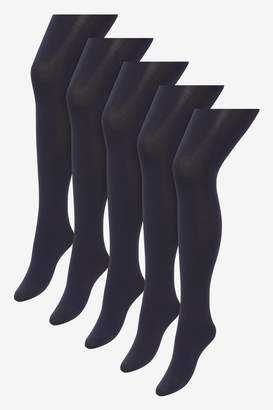 Next Womens Navy Basic Opaque 60 Denier Tights Five Pack - Blue