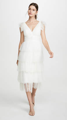 Marchesa Flutter Sleeve Cocktail Dress